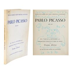 Pablo Picasso Signed Book with Sketch