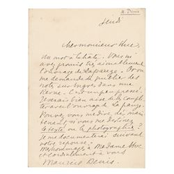 Maurice Denis Autograph Letter Signed