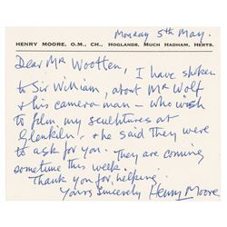 Henry Moore Autograph Letter Signed