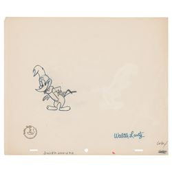 Walter Lantz Signed Woody Woodpecker Production Drawing