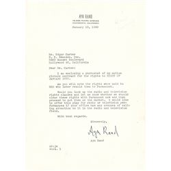 Ayn Rand Typed Letter Signed