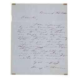 Henry David Thoreau Autograph Letter Signed