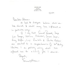 Edward Albee Autograph Letter Signed