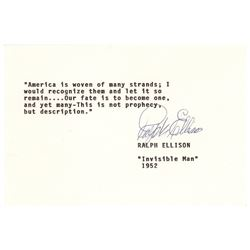 Ralph Ellison Typed Quotation Signed