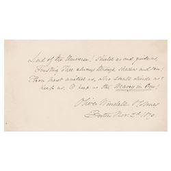 Oliver Wendell Holmes, Sr. Autograph Quotation Signed
