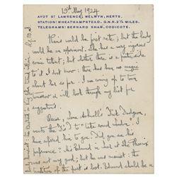 George Bernard Shaw Autograph Letter Signed