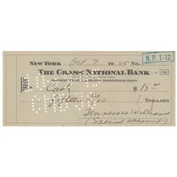 Tennessee Williams Twice-Signed Check