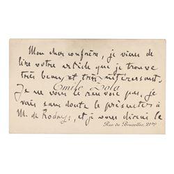 Emile Zola Autograph Note Signed