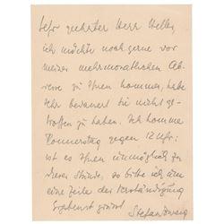 Stefan Zweig Autograph Letter Signed