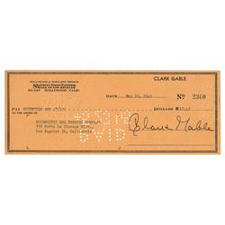 Clark Gable Signed Check