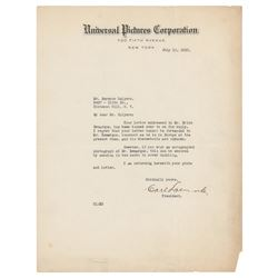 Carl Laemmle Typed Letter Signed