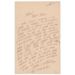 Nikolai Rimsky-Korsakov Autograph Letter Signed
