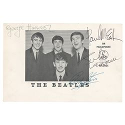 Beatles Signed Large-Format Parlophone Card