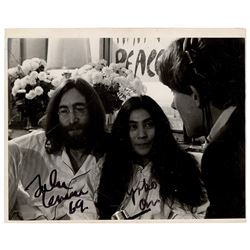 Beatles: John Lennon and Yoko Ono Signed 'Bed-in for Peace' Photograph