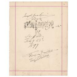 Joseph Joachim Autograph Musical Quotation Signed