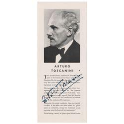 Arturo Toscanini Signed Pamphlet