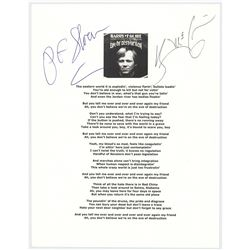 Barry McGuire and P. F. Sloan Signed Lyric Sheet for 'Eve of Destruction'