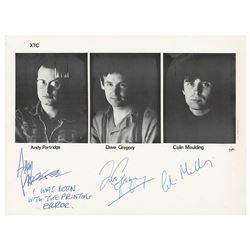XTC Signed Photograph