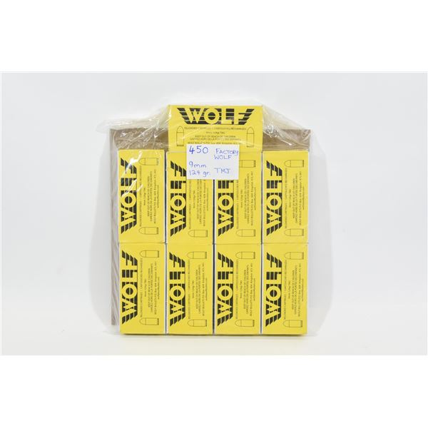 450 Rounds of WOLF 9mm 124gr RN Ammunition