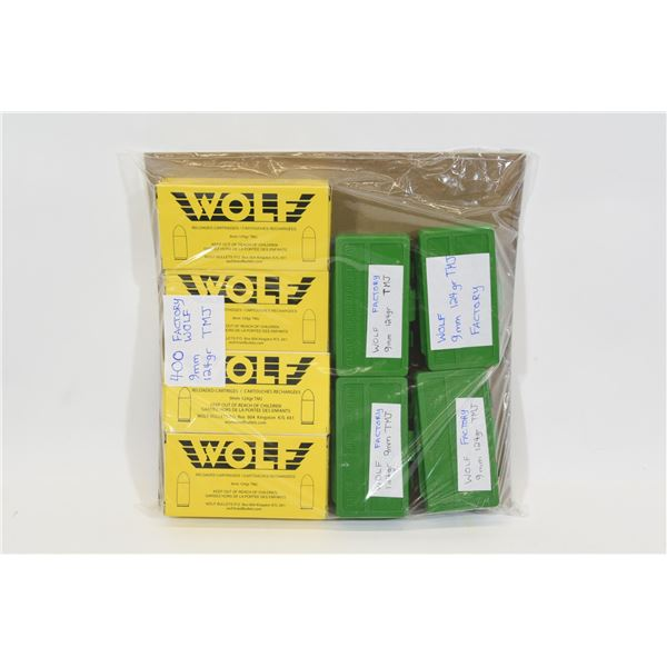 400 Rounds of WOLF 9mm 124gr RN Ammunition