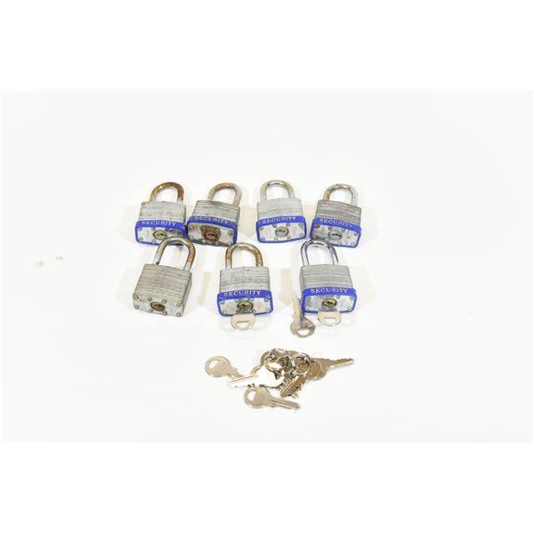 6 Laminated Steel Keyed Alike 40mm Locks