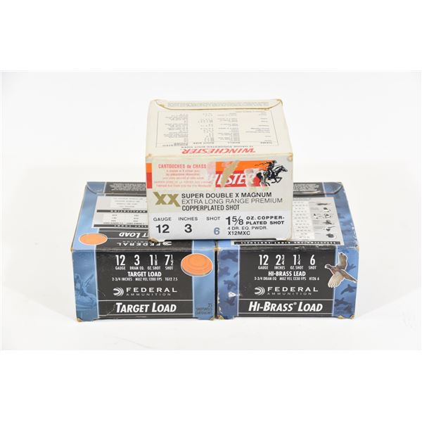 3 Boxes 75 Rounds 12 Gauge Assorted
