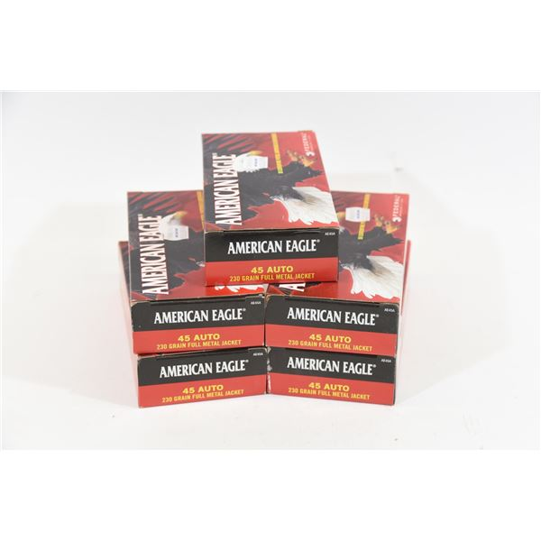 250 Rounds American Eagle .45 ACP 230gr FMJ