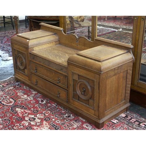 Phenomenal Circa 1920 European Golden Oak Hall Bench Dresser Machost Co Dining Chair Design Ideas Machostcouk