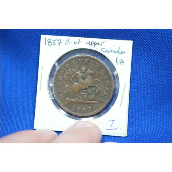 Bank of Upper Canada One Penny Token - 1857