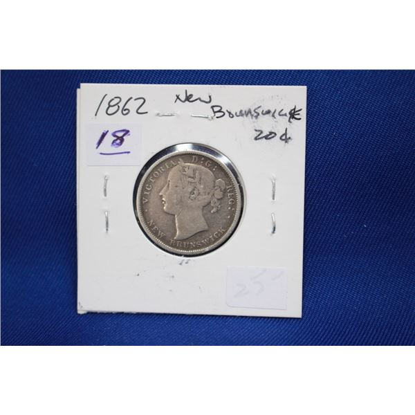 New Brunswick Twenty Cent Coin - 1862; Silver