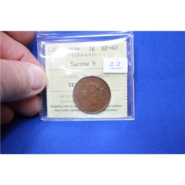 Canada One Cent Coin - 1859; Narrow 9