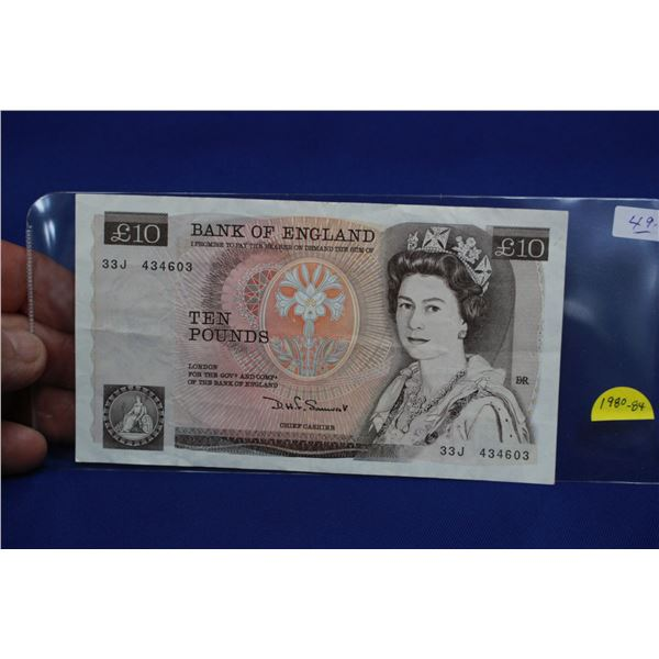 Bank of England Ten Pound Bank Note; 1980 - 1984