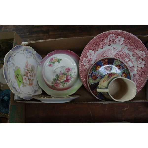 Box of old assorted Dishes