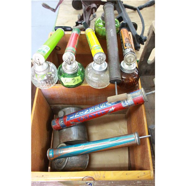 Wooden Box with 7 Sprayers - 5 glass & 2 Metal