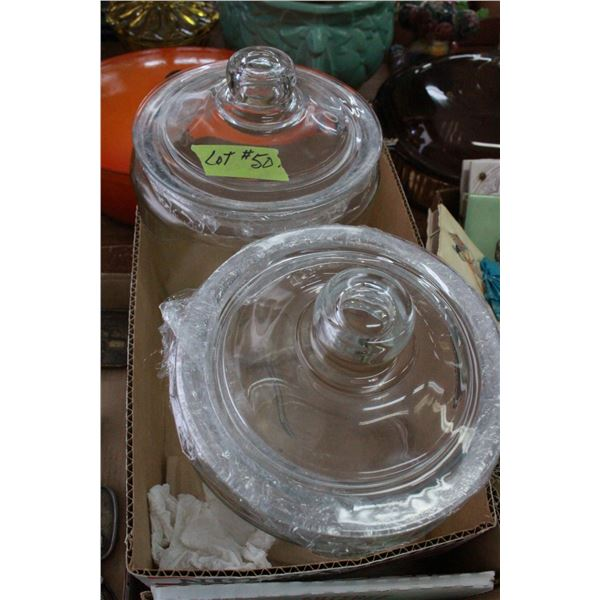2 large Glass Cannisters (Old)