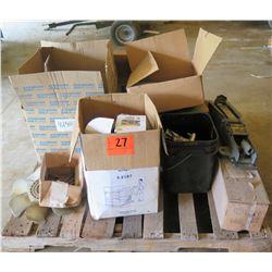 Pallet w/ Evercraft 2 Ton Floor Jack, Engine Fan, Discs, Parts, etc