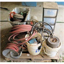 Pallet of Air Hoses, Winders, Wheels, Parts, etc & 3 Drawer Plastic Storage