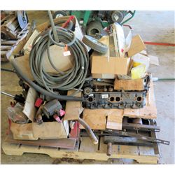 Pallet of Air Hoses, Cart Align, Engine Head, Rollers, Wheels, Parts, etc