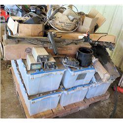 Contents of Pallet: Plastic Bins & Wheels, Hoses, Parts, Batteries, etc