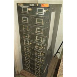 Steel Age Metal Cabinet w/ 20 Drawers & Contents: Nails, Hardware, etc