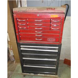 Qty 2 Stacking Toolboxes: Red Proto 12 Drawer & Black 4 Drawer w/ Contents