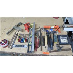 Misc Tools: Level, Files, Wrenches, Grease Gun, Hammers, Nail Pulls, etc