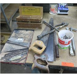 Misc Tools: Spur Auger Bits, Saws, Drill Bits, Tire Iron, etc