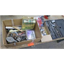 Misc Tools: Ratchet & Socket Set, Weiser Lock Door Knobs, Bit Sets, Locks, etc