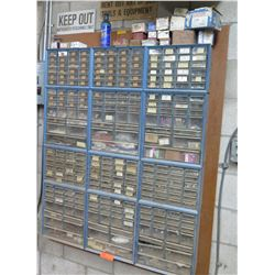 Metal 12 Section Cabinet w/ Plastic Drawers & Contents: Screws, Washers, etc