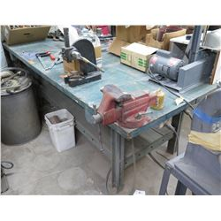 "Metal Shop Table w/ Undershelf & Vise 96""x46""x36"" (table only)"