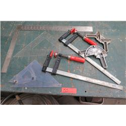 "Qty 2 Bessey 20"" Shop Clamps, Angle Rulers, etc"