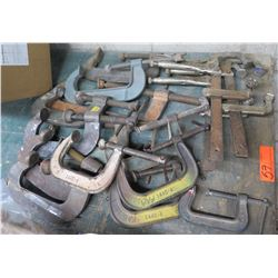 Multiple Misc Vise Clamps & Long Shop Clamps