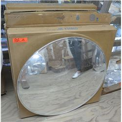 "Qty 5 Rounded Convex 30"" Mirrors in Box"