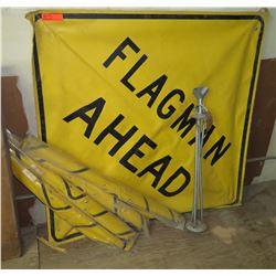 Qty Approx. 4 Yellow Flagman Ahead Signs w/ Metal Frames